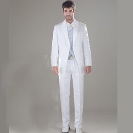 Barato Casaco Longo Do Smoking Do Noivo-Atacado-Shine Long Tail Tuxedo Branco Groom Wear Best Man Suit Groomsman repicado lapela One Button Últimas Pant Brasão Designs Jacket + Pant + Bow