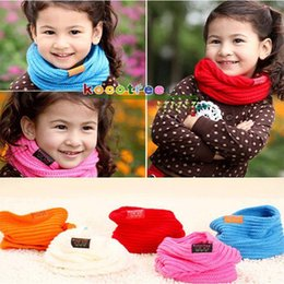 Wholesale Children s Muffler Baby Warm Scarf Boy Girl Knitted O Ring Scarf New Style Designer Knitting Kids Neck Warmer Neckerchief JIA295