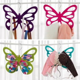 Fashion scarF clip online shopping - Hollowed Out Design Clothes Rack Porous Butterfly Shape Silk Scarf Necktie Hangers Plastic Pile Coating Hanger Fashion bd B