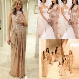 Barato Longos Vestidos De Dama De Honra Quentes-Bling Rose Gold V Neck Sequined Maid of Honor Vestidos Backless Plus Size Long Beach Bridesmaid Bridal Party Evening Gowns 2015 Custom Hot B1