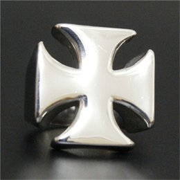 Cool Ring Designs Canada - 1pc New Design Polishing Jesus Cross Ring 316L Stainless Steel Biker Style Lastest Band Party Cool Cross Ring