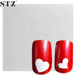 Barato Pontas Do Prego Da Forma Do Coração-Atacado- STZ 1 Folha Cute Heart Line Shape French Nail Art Tips Guia Pack Sticker Novo Design de Moda 3d Emboss Manicure Set Tool FJ21