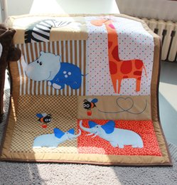 Babies Bedding Sheets Canada - 3D stereo embroidery giraffe hippo elephants bees Bumper Fitted Sheet Baby Bedding