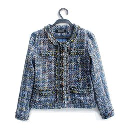 Chinese  Ladies Plaid Wool Coats Blue Beaded Tweed Jacket High Quality Women Short Trench Coat Winter Warm Overcoat ZRF0905 manufacturers