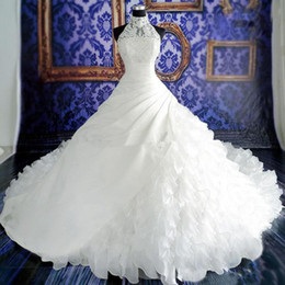 $enCountryForm.capitalKeyWord Canada - High Neck Illusion Halter Wedding Dresses Exquisite Beaded Pearls Crystals Lace Appliqued Top Ruffles Skirt Long Cathedral Train Bridal Gown