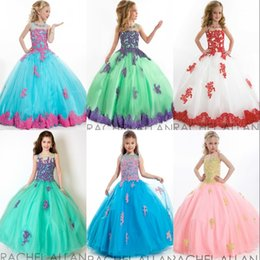 Robe Rose Tull Pas Cher-2017 Flower Girl Robes Pour Mariage Vintage Bleu Blanc Vert Vert Appliques Jewel Tull Floor Longueur Long Lace Girls Ball Gowns Prom Dress