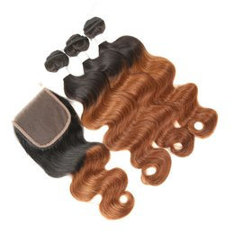 $enCountryForm.capitalKeyWord UK - 8A Ombre 1B 30 Auburn Hair Bundles with Lace Closure Body Wave Wavy Golden Brown Ombre Malaysian Hair Weaves with Top Closure