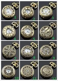 Mode blandad ordning 12 stil 12pcs damer ihålig fickur charm hängande halsband unisex halsband fickur