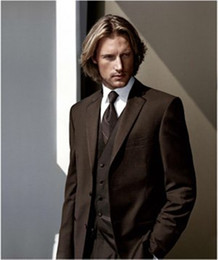 $enCountryForm.capitalKeyWord Canada - High Quality Two Buttons Brown Groom Tuxedos Notch Lapel Groomsmen Mens Wedding Dresses Prom Suits (Jacket+Pants+Vest+Tie) H450