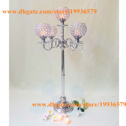 Religious Candle Holders Canada - H90cm Wedding bling and crystals Chandelier Candle holder globe centerpiece