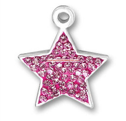pink star charm pendants NZ - free shipping 20pcs a lot silver plated zinc studded with sparkling pink crystal pentagram stars charms pendant(P500143)