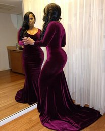 Barato Vestido De Veludo Roxo Longo-Elegant Purple Velvet Mermaid Vestidos de noite árabe Crew Long Sleeves Sexy Evening Gowns Sexy Luxurious Prom Dresses