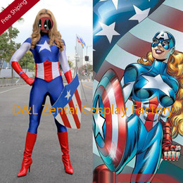 $enCountryForm.capitalKeyWord Canada - Free Shipping DHL Lady Captain America Female Superhero Costume 2015 Halloween Party Cosplay Lycra Zentai Suit SH1508