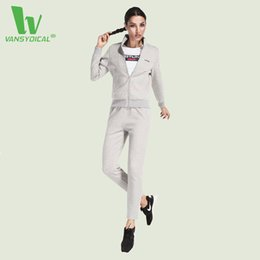 woman white yoga pants 2019 - Wholesale- VANSYDICAL 3 Pcs Women Fitness Yoga Sets Running Yoga T-Shirt Tops & Jacket & Pants Sports Suit Gym Clothes W
