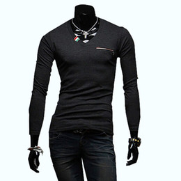 Barato Tshirts V Neck Men-FG1509 Mens Slim Striped T Shirts 2014 Novo Coreano Chest Zipper Collar de manga comprida V-neck T-shirt Masculino Camisetas Pullovers T260