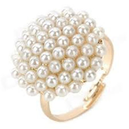 Vintage pearl ring gold online shopping - 5000pcs Women Elegant Vintage Gold filled Mushroom Shaped Pearl Ring White Gift