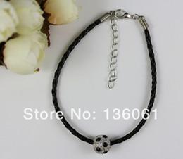 $enCountryForm.capitalKeyWord NZ - Black Leather &Rhinestone Ball Beads Vintage Silver Good Luck Charms Bracelet Bangle For Women DIY Jewelry Clothing Accessories NEW P1249