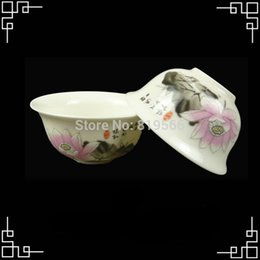 Ahuecamiento Chino Fija Al Por Mayor Baratos-Al por mayor-Lotus Pintura Taza de té de cerámica porcelana china Kungfu Set Bone China Servicio Vasos 8pcs