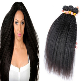 Top Quality Virgin Human Hair Canada - Top Quality Malaysian Kinky Straight Virgin Human Hair 3 Bundles 100% Carse Yaki Virgin Human Hair Large In Stocks