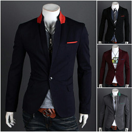 Vestes Élégants Élégantes Pas Cher-2016 hommes décontractés Slim Fit Split couleur commune collier Suit Vestes Blazer vestes Outwear vêtements vêtements 4 couleurs M-XXL 9011
