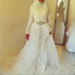Vintage Lace White Muslim Wedding Dresses With Hijab 2016 Dubai Arabic High Neck Long Sleeve Crystal Sash Bridal Dress Gown Sweep Train