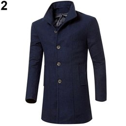 Barato Homens Casacos Compridos China-Atacado- China Style Men Moda Slim Fit Long Trench Coat Windbreaker Lapel Button Jacket Outwear