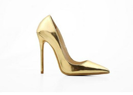 nude satin shoes NZ - Real Pics Hot 10CM 12CM Stilettos Women Pumps High Heels Pointed Toe Patent Leather Women Shoes Red Nude Gold Black White Pink
