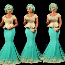 $enCountryForm.capitalKeyWord NZ - Gorgeous Arabic African Evening Dresses Nigerian Lace Styles Scoop Neck Mermaid Teal Turquoise Prom Gowns with Lace Appliques
