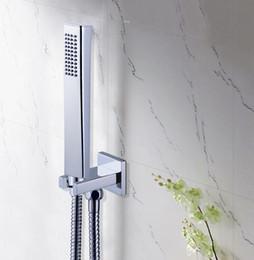 Ванная комната латунь площадь ручной душ с латунной настенный кронштейн держатель из нержавеющей стали 1,5 м шланг на Распродаже