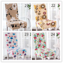 Elastic chairs online shopping - 28 styles Floral Printing Chair Covers Spandex White Elastic Chair Covers Wedding Dinner