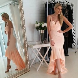 Barato Vestido De Cocktail Rosa Sem Alças-2018 High Low Short Prom Vestidos de festas Pearl Pink Strapless Cocktail Dresses Sweetheart Sexy Low Back Vintage Evening Gowns