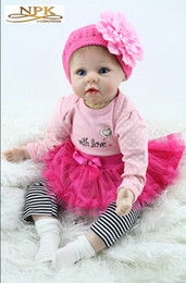 """baby comfort cloth 2019 - New hot sale Big Handmade Doll For Kids 22"""" 55cm Realistic Soft Silicone Reborn Baby Dolls NPK Product discount bab"""