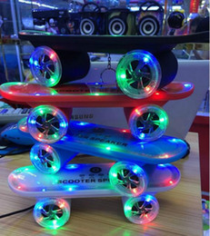 Christmas Tables Canada - Christmas Gift LED Flash Kick scooters Mini bluetooth speakers wireless Subwoofer Stereo Portable Skateboard speaker for Table pc phone DHL