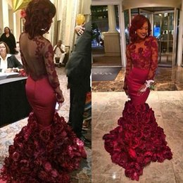 Barato Vestido Flores Rosa-2015 Sexy Alta Qualidade Mermaid Prom Dresses Borgonha Backless Vestidos de noite Luxo Sheer Manga comprida 3D Rose Flowers Lace Appliques Party
