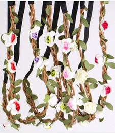 pink crown headband 2019 - 10pcs Bride Bohemian Style Flower Headband Festival Party Wedding Floral Garland Headband Flower Crown Headwear cheap pi