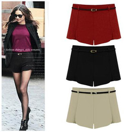 Red Wool Shorts Canada - Chic petals A-line high waist shorts wool shorts winter autumn ladies shorts with a belt plus size S M L XL 2XL
