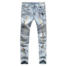China Men Biker Jeans Casual Streetwear Design Fashion Jeans For Men Hip Hop Strech Pleated Jeans Size 29-38 cheap jeans man 29 size suppliers