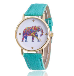 Rhinestone watch box online shopping - 2016 New Fashion Elephant Analog Date Watches Women Ladies dress Rhinestone watches clock Quartz WristWatches Brand with Box