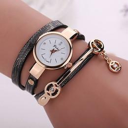 Watch Long Bracelet Canada - New fashion wrap around bracelet watch crystal rhinestone long leather women wrist quartz watches dress watch