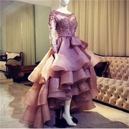 Barato Alto Baixo Organza Prom-Gorgeous Ruffles High Low Prom Dresses Appliques manga comprida Short Front Longo Back Tiered Vestido Prom Dresses Formal Evening Party Vestidos 2016