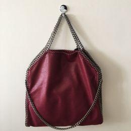 2db5c269e3 High Quality factory sale falabella stella Shaggy Deer PVC 3 Chain red wine  Ladies Handbags Fashion Tote Soft Women Shoulder bag