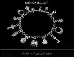 $enCountryForm.capitalKeyWord Canada - Best gift cheap hot 925 Sterling Silver CZ Crystal gemstone fashion jewelry cross moon charms silver women bracelet