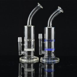 China Honeycomb to Turbine Perc Bong Dab Rig 11.5 incehs Bent Neck Bubbler Rig Two Function Recycler Water Pipe 2 Colors Glass Oil Rig cheap oil rig bent neck honeycomb suppliers