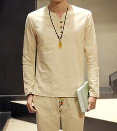 $enCountryForm.capitalKeyWord Canada - Hot sale 2016 summer new style Chinese vintage style men shirt mens v-neck Long sleeve linen shirt plus size clothing 5XL
