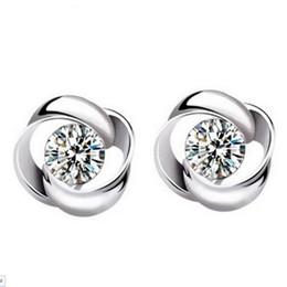 $enCountryForm.capitalKeyWord Canada - Wholesale Fashion Jewelry 925 Silver Crystal Flower Shape Ear Stud Earrings Ear Ring Pendant ED09