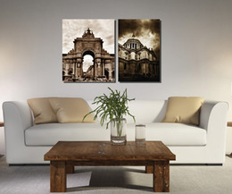 canvas church paintings Canada - 2 Pieces Home decoration Paint on Canvas Print church Big Ben street lamp Eiffel Tower Pisa Liberty goddess Triumphal Arch chimney windmill