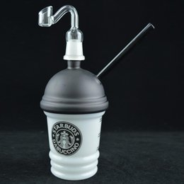 """$enCountryForm.capitalKeyWord NZ - Glass Cup Dabuccino Starbuck Cup Dab Oil Glass Bong Recycler Concentrate Oil Rig 8"""" inches Original Opaque Cup Bong with Curved Nail Bucket"""