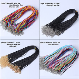 Wholesale MLJY Styles Chains Black Wax Leather Cord Necklace Rope cm Chain Lobster Clasp DIY Necklaces Pendants Jewelry Accessories
