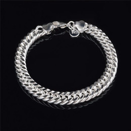 sterling silver figaro bracelet NZ - 2015 New Design 6MM 8MM 10MM 925 Sterling silver Figaro chain bracelet Fashion Men's Jewelry Top quality free shipping
