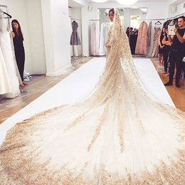 Barato Longo Casamento Véus Bling-2016 Bling Bling Crystal Cathedral Velos de noiva Luxo Long Applique Beaded Custom-Made High End Sequined Wedding Veils